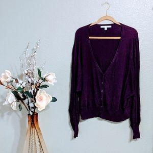 LC Lauren Conrad Purple Knit Cardigan Sz XL